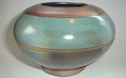 Sphere Vase with Ash Effects, Green Glaze