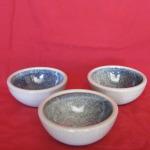Sm. bowls, Rutile glaze 80 mm. diam. each $20